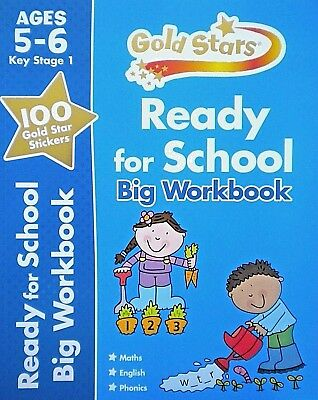 Maths English Phonics Age 5-6 KS1 Ready For School Gold Stars Childrens Workbook