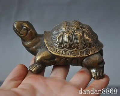 old china chinese fengshui bronze longevity animal small turtle tortoise statue