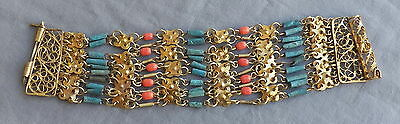 Vintage Deco Egyptian Revival Coral & Turquoise Faience Bead  Bracelet