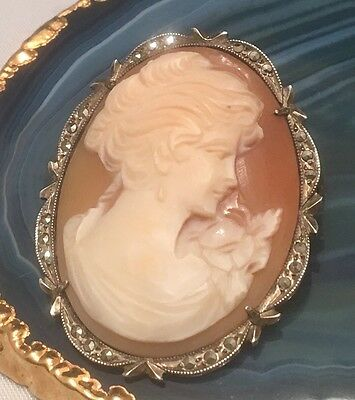MAGNIFICENT Genuine Cameo Sterling Silver Pendant or Brooch w 24 Marcasites-L203