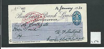 wbc. - CHEQUE - CH254 - USED -1920's/1930's - BARCLAYS BANK, HUNSTANTON