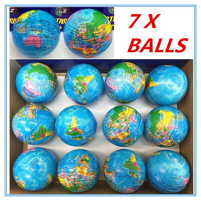 7 x WORLD GLOBE STRESS BALLS Hand Relief Squeeze Toy Reliever Anti-stres Soft AP