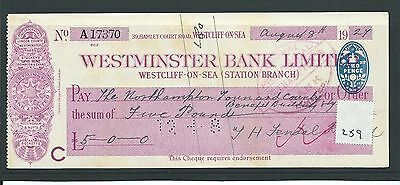 wbc. - CHEQUE - CH259 - USED -1920's -WESTMINSTER BANK, WESTCLIFF ON SEA STATION