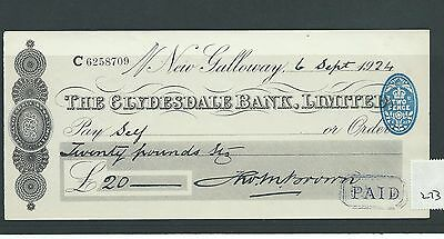 wbc. - CHEQUE - CH273 - USED -1920's - CLYDESDALE BANK, NEW GALLOWAY