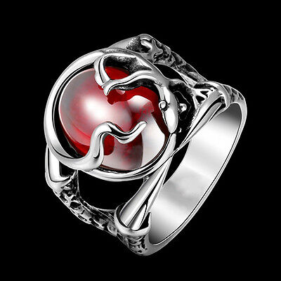 Men Punk Engraved Gecko Pattern Red Stone 316L Stainless Steel Ring Perfect
