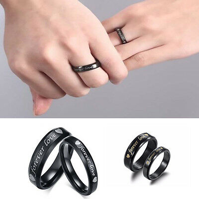 Forever love Steel titanium Couple Rings Wedding Band His and Her Promise Rings