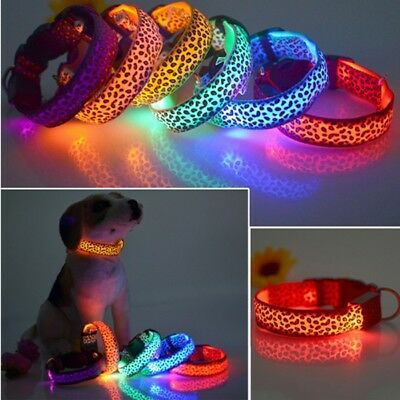 LED Cool Dogs Neoprene Necklace Collars Cool Retro Adjustable Walk Safety Leash