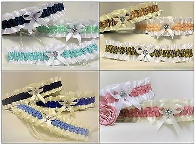 SATIN BRIDAL GARTER.With bow & diamante cluster. 21 colours with something blue