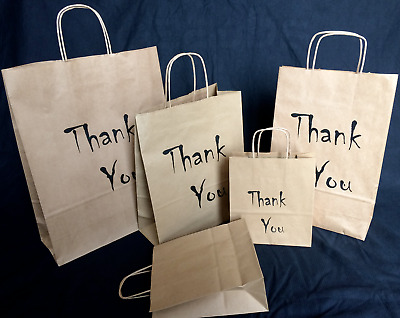 Paper Printed Carrier Bags Eco Gift Wedding Christmas -Thank You,Or Your Logo !