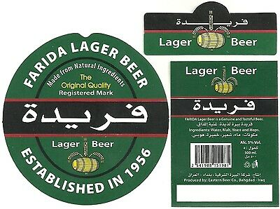Beer label FARIDA LAGER BEER Eastern Beer Co. Bahgdad REPUBLIC OF IRAQ (بغداد)