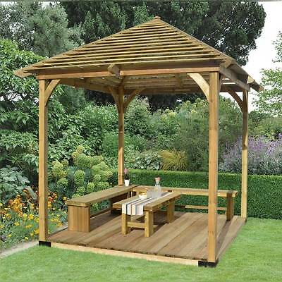 Wooden Venetian Pavilion Pergola with Decking Garden Structure Outdoor Dining