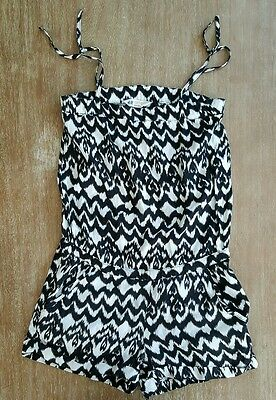 H&M black-white girls romper with pockets sz. 8-9 years
