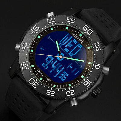 INFANTRY Mens Digital Quartz Wrist Watch Date Day Chronograph Sport Black Rubber