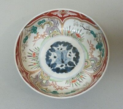 "19th C. ANTIQUE JAPANESE IMARI ARITA 7.25"" BOWL, PASTEL COLORS, COBALT CENTER"