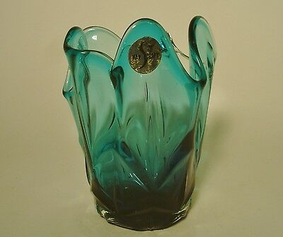 Glas Japan glass japanese blue blau handcraft Shoei Vase fazzoletto art glass