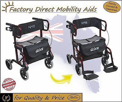 Drive Diamond Deluxe Walker Mobility Rollator Red &Silver
