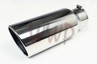 """Polished Stainless Bolt On Angle Cut Roll Exhaust Tip 4"""" Inlet 7"""" Outlet 15""""Long"""