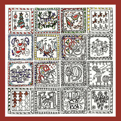 Zenbroidery - 12 Days Of Christmas Festive Embroidery Fabric Pack Kit
