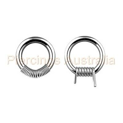 316L Surgical Steel Spring Coil Barbwire Captive Ring CHOOSE SINGLE OR PAIR
