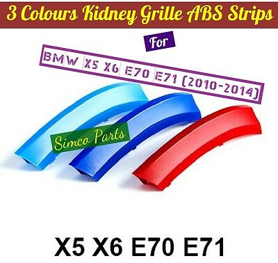 3D 3 Colours Kidney Grille Plastic Cover Strips Clips BMW X5 E70 2008-2015