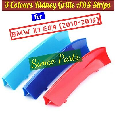 3D 3 Colours Kidney Grille Plastic Cover Strips Clips BMW X1 E84 2009-2015