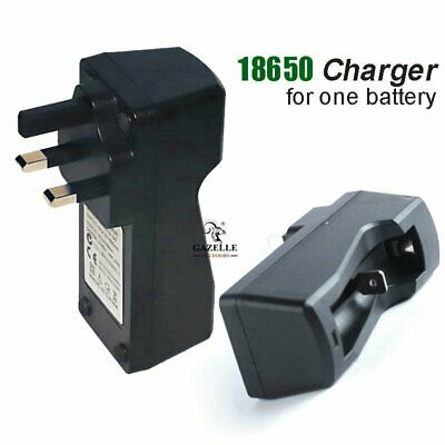 Rechargeable 3.7V 18650 Li-ion Batteries Charger for 1 Battery UK Plug Black New