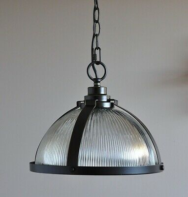"STOCKTON-INDUSTRIAL PENDANT LIGHT-""PATINA BLACK""-cafe kitchen bench-CLEAR GLASS"