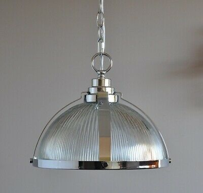 STOCKTON-INDUSTRIAL PENDANT LIGHT-CHROME-cafe kitchen bench-CLEAR GLASS-ART DECO