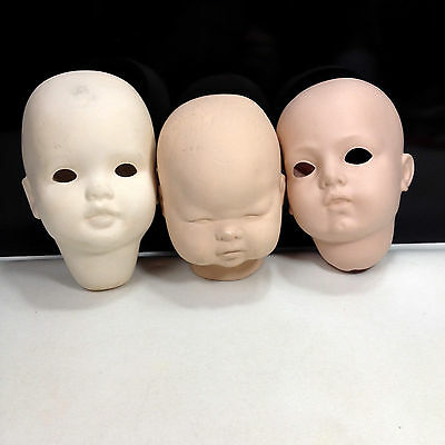Lot of 3 Porcelain Doll HEADS Doll Making