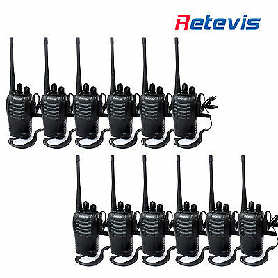12pcs Walkie Talkies UHF400-470MHz 16CH 5W 2-way Radio LED Torch UK USB Charger