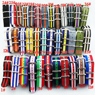18mm Nylon Uhrenketten Armbanduhren Watch Band Strap 36Types Durable Fashion