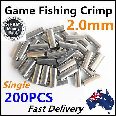200 X 2.0mm Aluminium Alloy Crimp 18mm Long Game Fishing Tackle Single Marlin