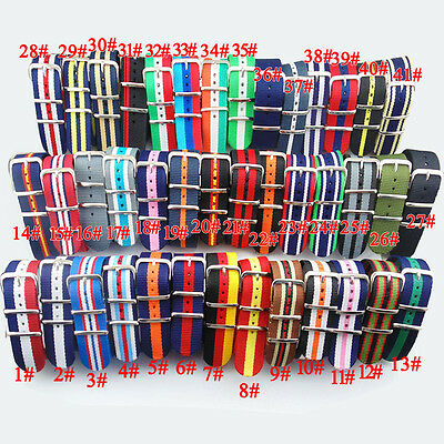 22mm Nylon Uhrenketten Armbanduhren Watch Band Strap 41Types Durable Fashion