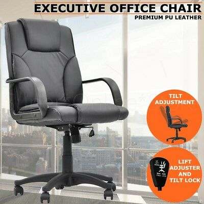 New Executive PU Leather Office Computer Chair Black 1005