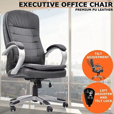 New Executive PU Leather Office Computer Chair Black 1002