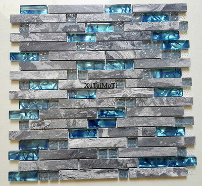 11PCS Gray Marble Glass Wall Interlocking Blue Kitchen Backsplash Stone Tile