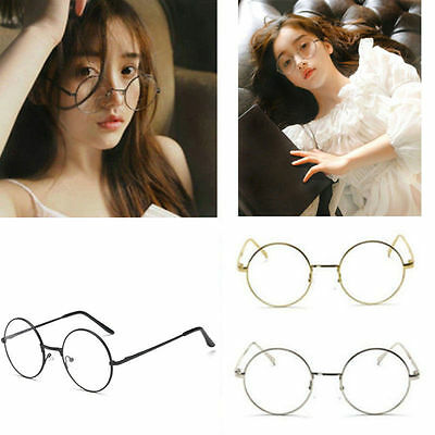 Classic Unisex Metal Frame Clear Round Lens Glasses Nerd Spectacles Eyeglass GB