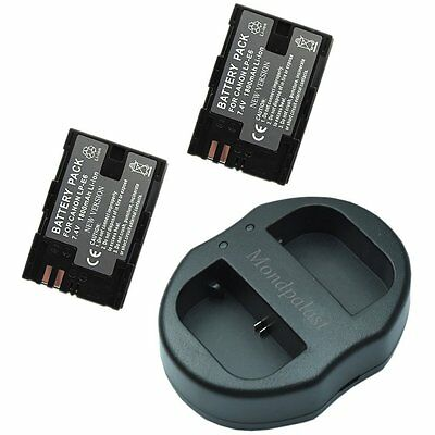 2x Replacement battery LP-E6 + USB Dual Battery Charger for Canon EOS 80D 5D 70D
