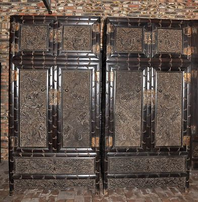 Pair Chinese Rosewood Relief dragon  Carving Compound Cabinets