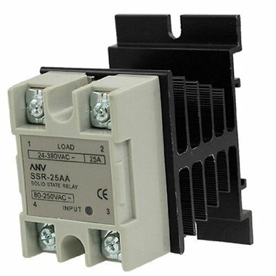 25A AA Solid state relay SSR AC 80-250V control 24-380V   Heat Sink