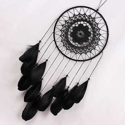 Handmade Lace Dream Catcher Feather Bead Hanging Decoration Ornament Gift Black#