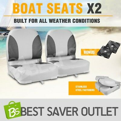 2 x Weather Resistant Folding Boat Seats Swivel Fisherman Grey/Charoal