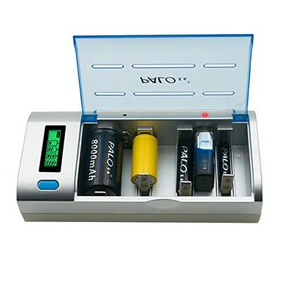 for AA AAA C D 9V Rechargeable Batteries 4 Slots Universal Smart LCD Charger GH