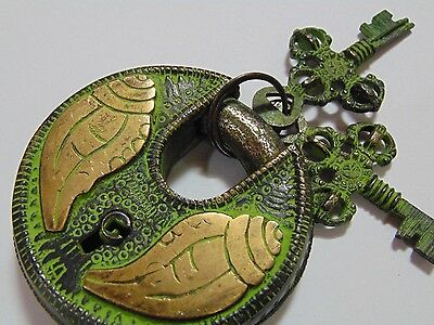 Shell Engraved Collectible Functional Brass Pad Lock ~ Handmade Rare Item