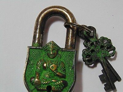 God Engraved Collectible Functional Brass Pad Lock ~ Handmade Rare Item