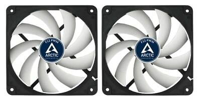 2 x Pack of Arctic Cooling F12 PWM 120mm PC Case Fan, High Performance