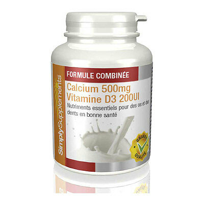 Calcium 500mg & Vitamine D3 200iu - 120 Comprimés - Simply Supplements