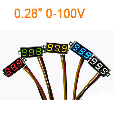 "0.28"" DC 0-100V Voltmeter red led Digital Display Voltage VOLT METER 12V 24V"