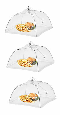 """Lot Of 3 Mesh Food Umbrella Covers Picnic BBQ Party Folding Tent White 17"""" NEW"""