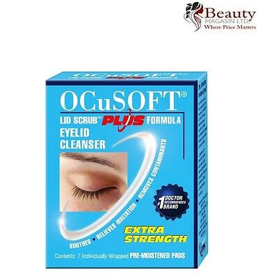 Ocusoft Plus Lid Scrub Eyelid Cleanser 7 pads Extra Strength Soothes & Relieves